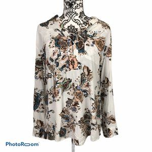 Chico's White Floral Button Front Shirt